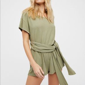 Free People Easy Street Wrap Romper in Green